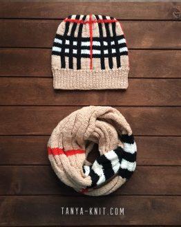 Комплект вязаная женская шапка, снуд Классическая Клетка