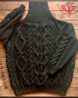 Вязаный женский свитер Оверсайз с Черными Аранами